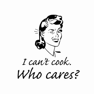 I can't cook, who cares? humorous retro women's t shirt