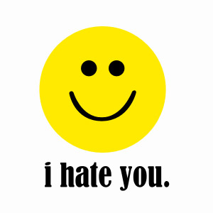 Funny offensive I Hate You smiley face t-shirt