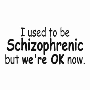 I used to be schizophrenic, but we're ok now, funny t-shirt