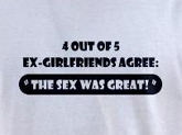 Sex t-shirts -- Ex girlfriends agree the sex was great funny t-shirt